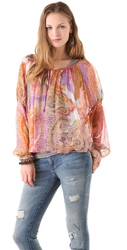 Haute Hippie Floral Peasant Blouse