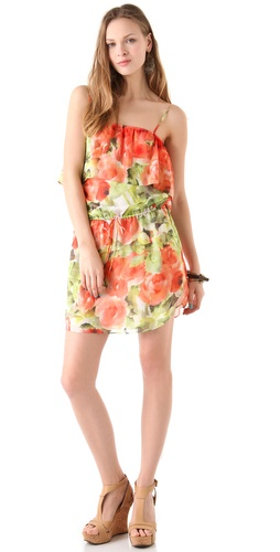 Haute Hippie Floral Tank Ruffle Dress