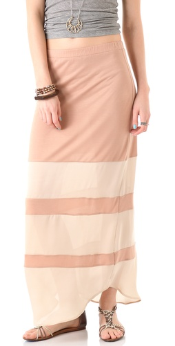 Haute Hippie Long Skirt with Stripes