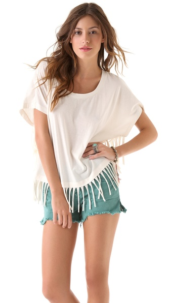 Haute Hippie Oversized Tee With Fringe