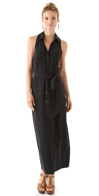 Haute Hippie Collared Racer Back Maxi Dress