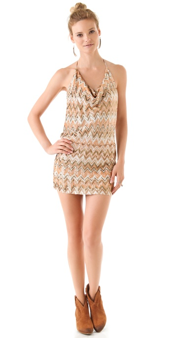 Haute Hippie Chevron Sequined Mini Dress
