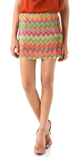 Haute Hippie Chevron Sequined Miniskirt