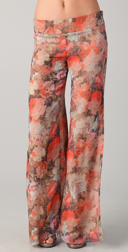 Haute Hippie Floral Wide Leg Pants with Slits