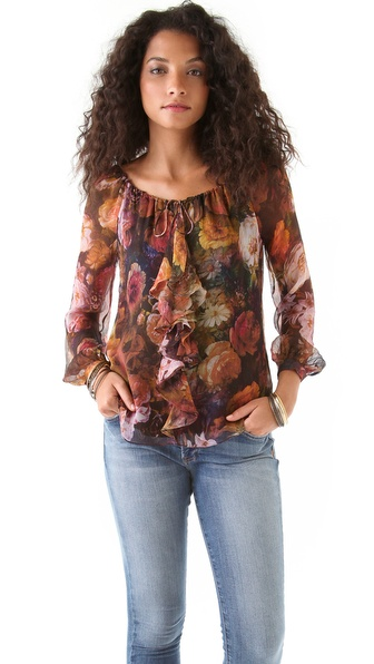 Haute Hippie Floral Ruffle Front Blouse