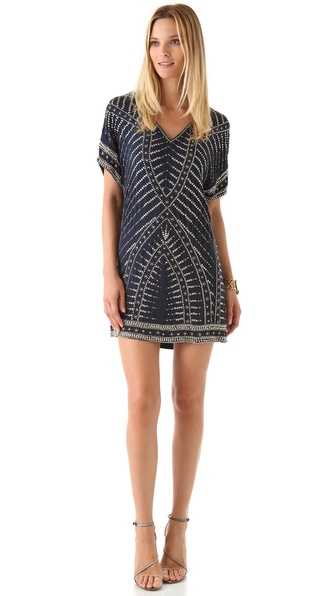 Haute Hippie Beaded V Neck Dress