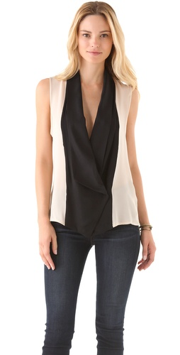 Shop Haute Hippie Tuxedo Sleeveless Blouse and Haute Hippie online - Apparel,Womens,Tops,Blouse, online Store