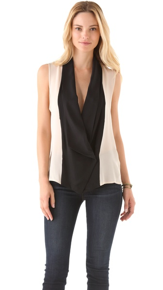 Haute Hippie Tuxedo Sleeveless Blouse