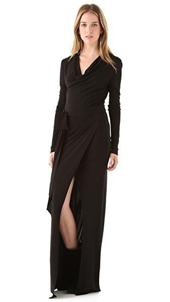 Haute Hippie Long Sleeve Maxi Dress with High Slit