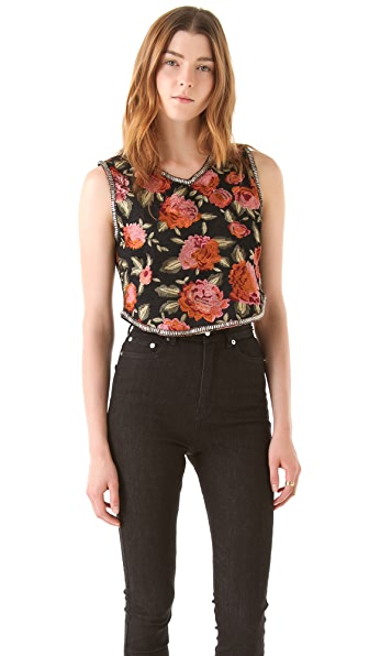 Haute Hippie Cropped Threadwork Top