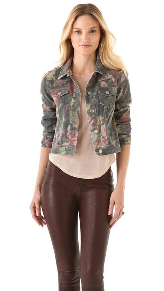 Haute Hippie Washed Floral Denim Jacket