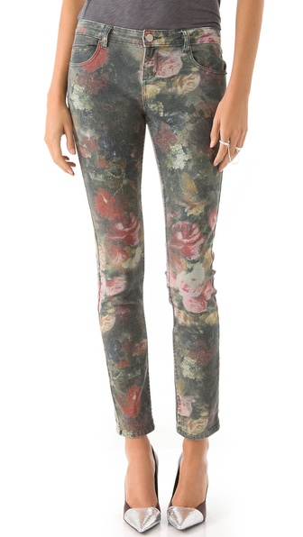 Haute Hippie Washed Floral Skinny Jeans