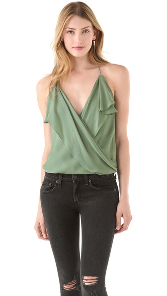 Haute Hippie Ruffle Front Halter Top