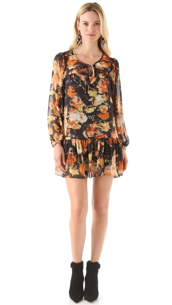 Haute Hippie Long Sleeve Mini Dress