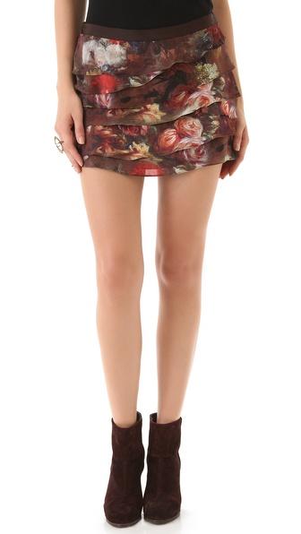 Haute Hippie Tiered Miniskirt