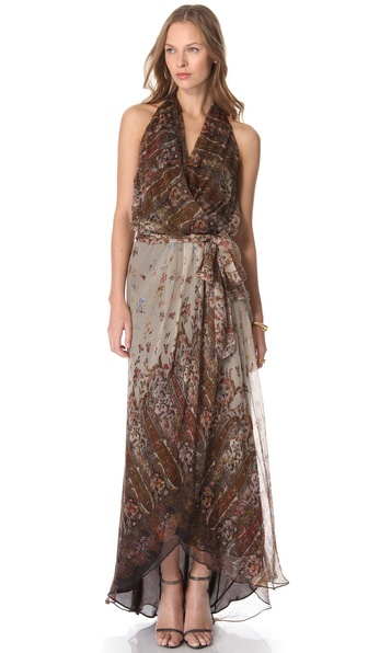 Haute Hippie Halter Cascade Ruffle Gown