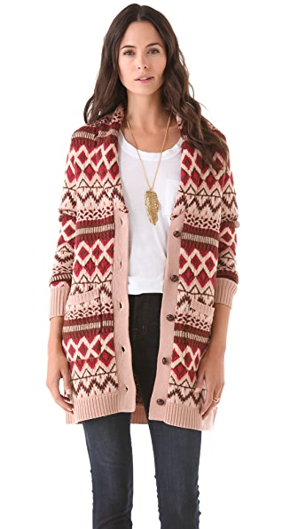 Haute Hippie Fair Isle Sweater Coat