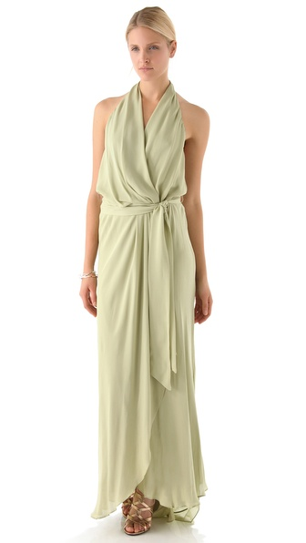 Haute Hippie Halter Ruffle Gown