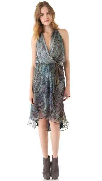 Haute Hippie Cascade Print Halter Dress