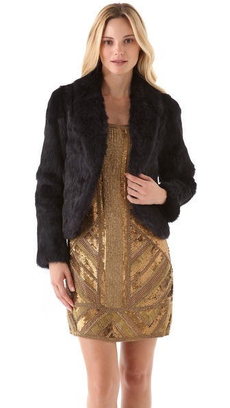 Haute Hippie Short Rabbit Fur Jacket