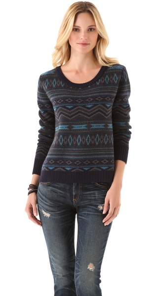 Haute Hippie Fair Isle Cropped Sweater