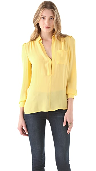 Haute Hippie Pocket Silk Blouse