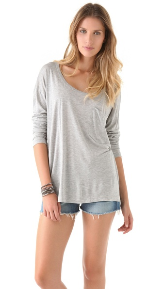 Haute Hippie Haute Hoodie Long Sleeve Pocket Tee
