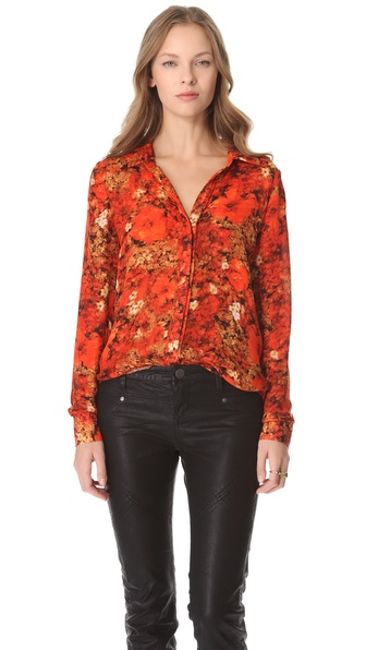 Haute Hippie Buttoned Print Blouse