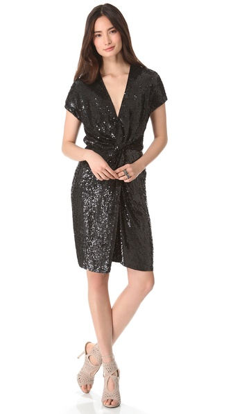 Haute Hippie Sequin Asymmetric Drape Dress