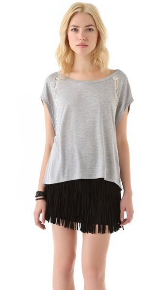 Haute Hippie Lace Stripe Tee