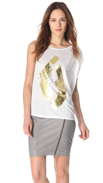 Haute Hippie Metallic Gold Guns Tank