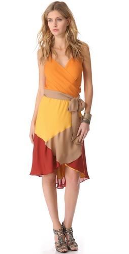 Haute Hippie Colorblock Crisscross Dress