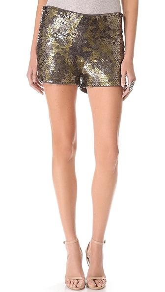 Haute Hippie Square Sequin Shorts