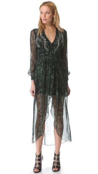 Haute Hippie High Low Pleated Gown