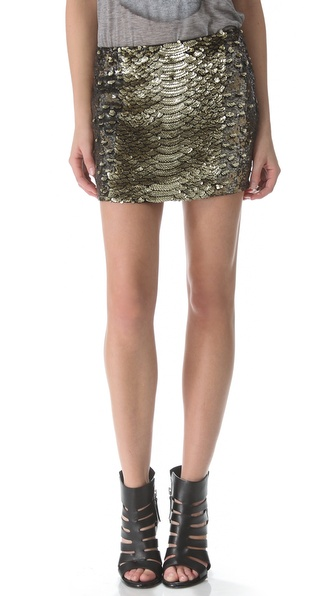 Haute Hippie Python Sequin Mini Skirt