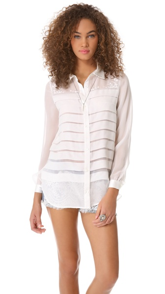 Haute Hippie Wide Pleated Blouse