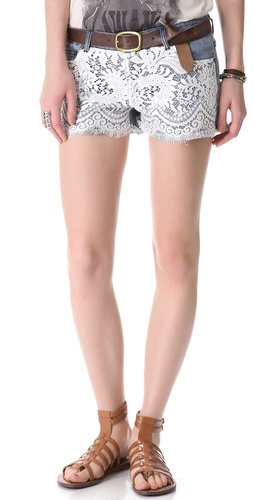 Haute Hippie Lace Over Denim Shorts