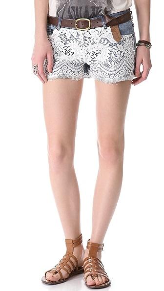 Haute Hippie Lace Over Denim Shorts