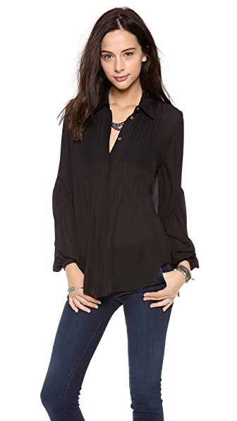 Haute Hippie Pleated Bilow Sleeve Blouse