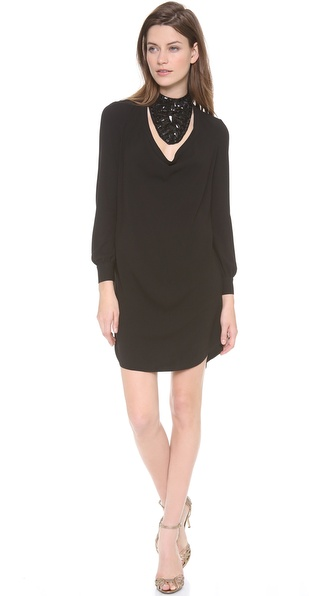 Haute Hippie Collarless Cowl Dress with Bib