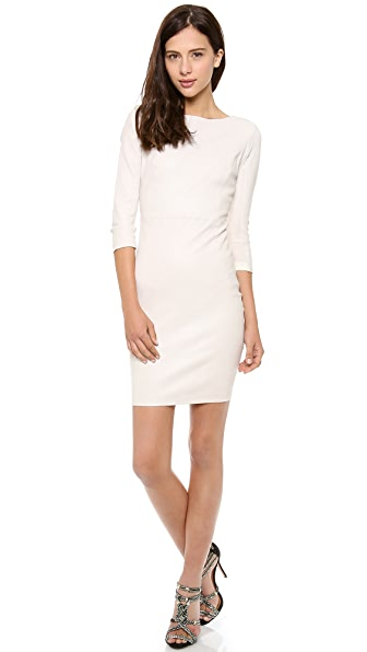 Haute Hippie 3/4 Sleeve Stretch Leather Dress