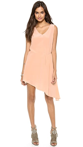 Haute Hippie Sleeveless Asymmetrical Side Tuck Dress