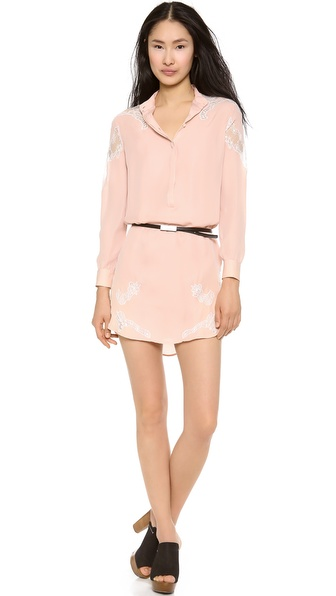 Haute Hippie Shirt Dress with Lace Shoulders