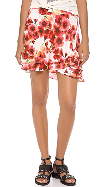 Haute Hippie Short Flirty Floral Skirt