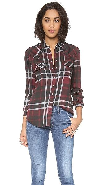 Haute Hippie Jillian Plaid Basic Western Shirt