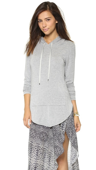 Haute Hippie Drop Shoulder Drawstring Hoodie