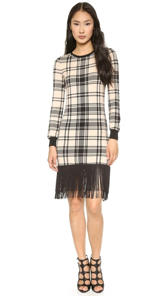 Haute Hippie Plaid Sweatshirt Dress with Fringe