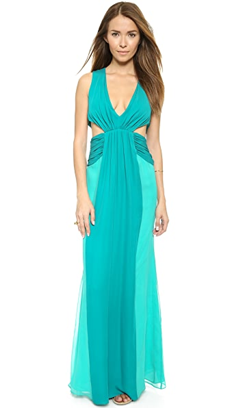 Kupi Haute Hippie haljinu online i raspordaja za kupiti Haute Hippie Colorblock Chiffon Gown - Turqoise/Aqua online