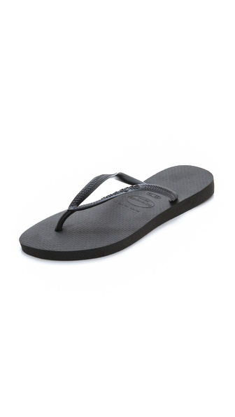 Havaianas Slim Flip Flops - Black at Shopbop / East Dane