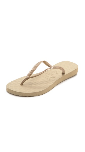 Havaianas Slim Flip Flops - Sand Grey/Light Golden at Shopbop / East Dane